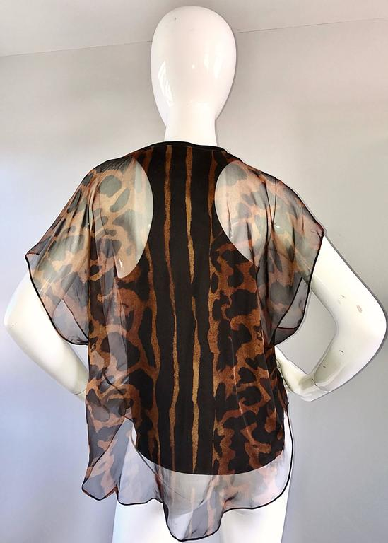 Black Alexander McQueen Leopard Print Silk Chiffon Flutter Sleeve Racerback Blouse Top For Sale