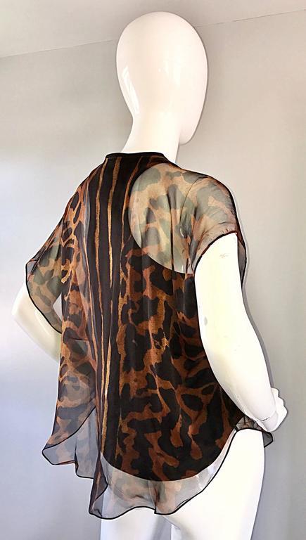 Alexander McQueen Leopard Print Silk Chiffon Flutter Sleeve Racerback Blouse Top For Sale 1