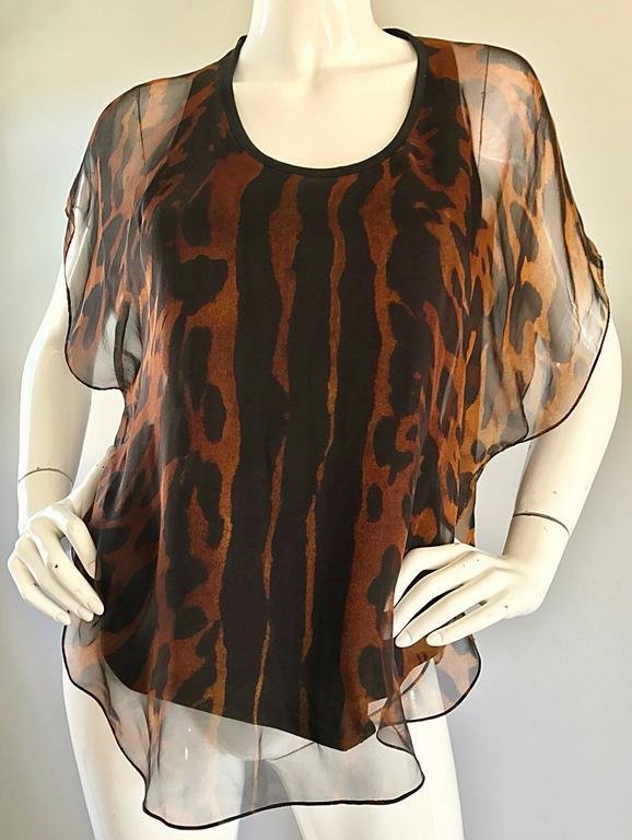 Alexander McQueen Leopard Print Silk Chiffon Flutter Sleeve Racerback Blouse Top For Sale 2