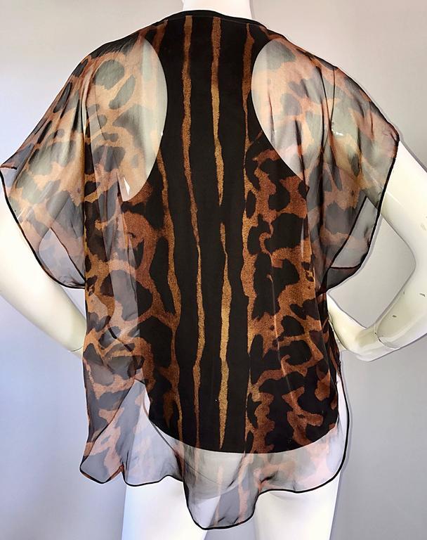 Alexander McQueen Leopard Print Silk Chiffon Flutter Sleeve Racerback Blouse Top For Sale 3