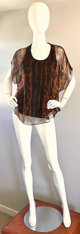 Alexander McQueen Leopard Print Silk Chiffon Flutter Sleeve Racerback Blouse Top For Sale 4