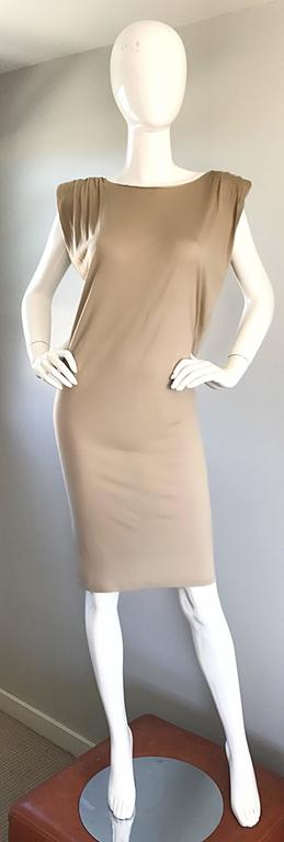 Brand new (with tags) LANVIN, by ALBER ELBAZ nude / taupe silk t-shirt dress! Not just your ordinary dress, this super soft beauty features strong shoulders (w/ chic built in exaggerated shoulder pads), along with beautiful and flattering drapery.
