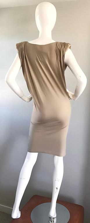 New Lanvin Alber Elbaz Taupe Strong Shoulder Taupe Silk Avant Garde Dress NWT  In New Condition For Sale In Chicago, IL
