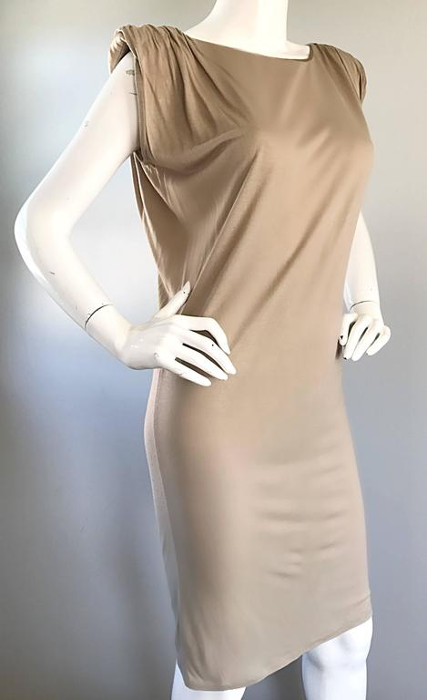 Women's New Lanvin Alber Elbaz Taupe Strong Shoulder Taupe Silk Avant Garde Dress NWT  For Sale