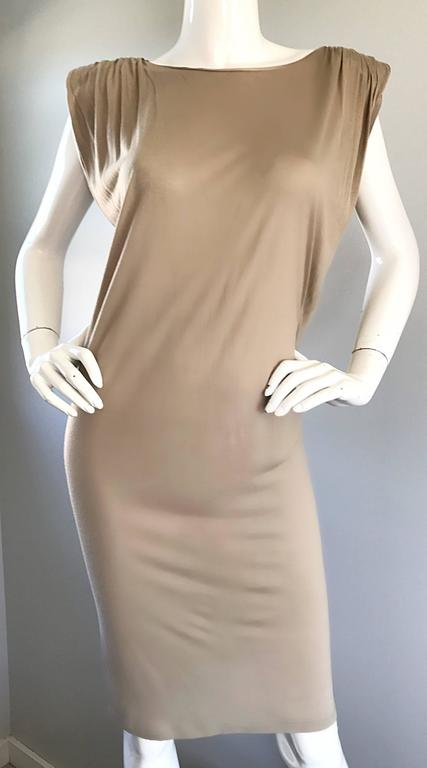 New Lanvin Alber Elbaz Taupe Strong Shoulder Taupe Silk Avant Garde Dress NWT  For Sale 1