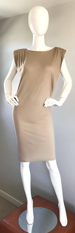 New Lanvin Alber Elbaz Taupe Strong Shoulder Taupe Silk Avant Garde Dress NWT  For Sale 4