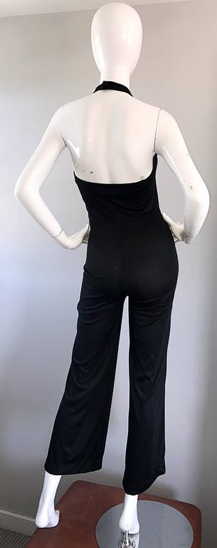 Women's 1970s Sexy Black Jersey Flare Leg Bell Bottom 70s Vintage Disco Halter Jumpsuit For Sale