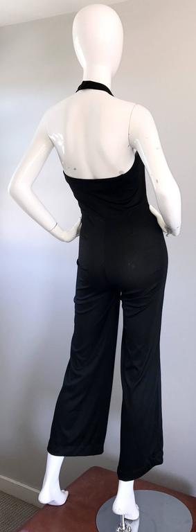 1970s Sexy Black Jersey Flare Leg Bell Bottom 70s Vintage Disco Halter Jumpsuit For Sale 1