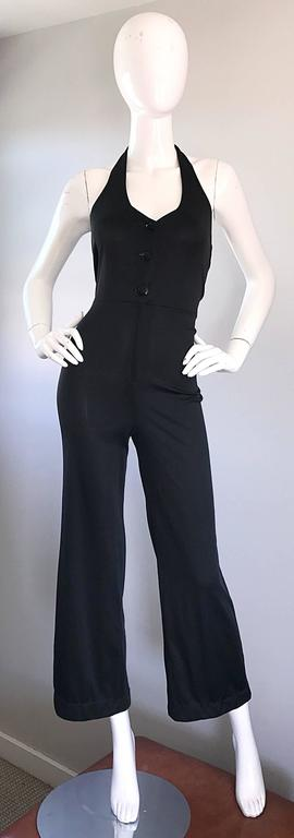 1970s Sexy Black Jersey Flare Leg Bell Bottom 70s Vintage Disco Halter Jumpsuit For Sale 5