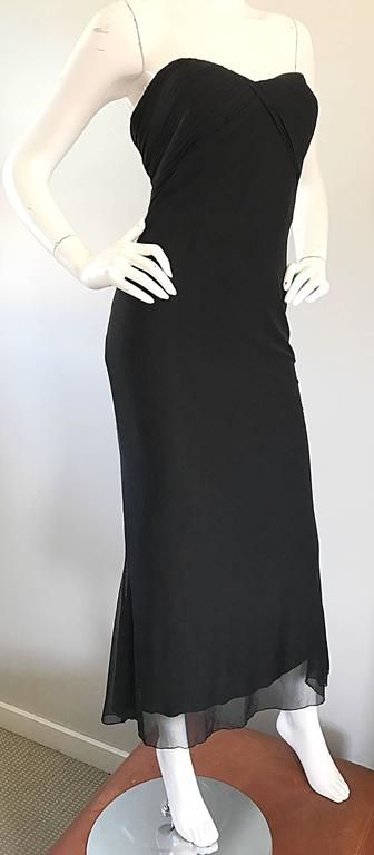 Women's Vicky Tiel Couture Vintage Black Silk Mesh Strapless 1990s Strapless Gown Dress For Sale
