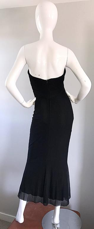 Vicky Tiel Couture Vintage Black Silk Mesh Strapless 1990s Strapless Gown Dress For Sale 1