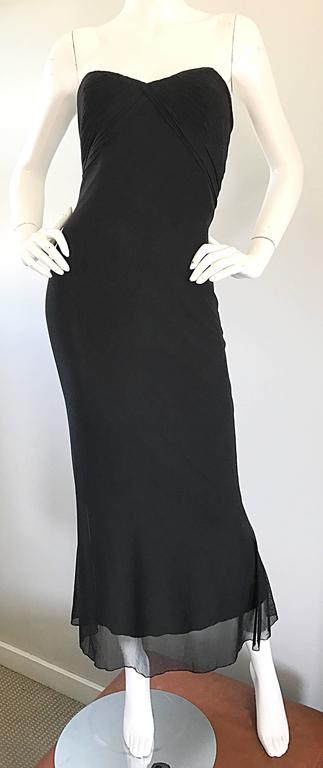 Vicky Tiel Couture Vintage Black Silk Mesh Strapless 1990s Strapless Gown Dress For Sale 2
