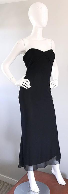 Vicky Tiel Couture Vintage Black Silk Mesh Strapless 1990s Strapless Gown Dress For Sale 3