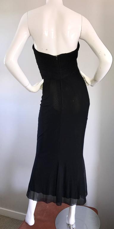 Vicky Tiel Couture Vintage Black Silk Mesh Strapless 1990s Strapless Gown Dress For Sale 4