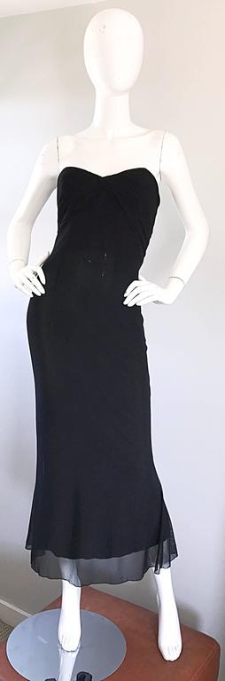 Vicky Tiel Couture Vintage Black Silk Mesh Strapless 1990s Strapless Gown Dress For Sale 5