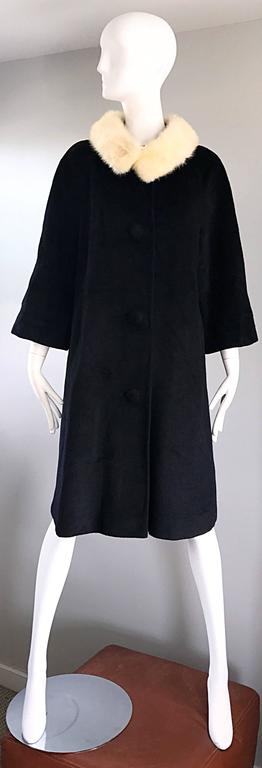 1960s Lilli Ann Black and White Wool + Mink Fur Vintage 60s Swing Jacket Coat  2