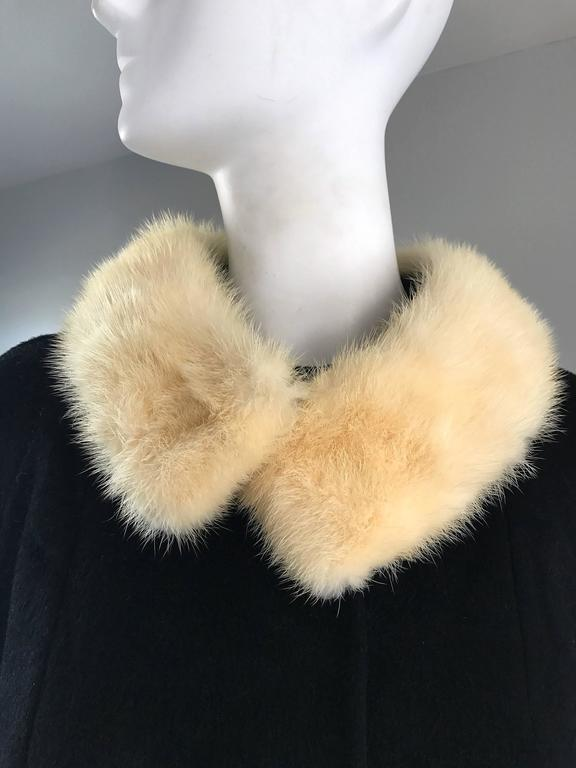 1960s Lilli Ann Black and White Wool + Mink Fur Vintage 60s Swing Jacket Coat  3