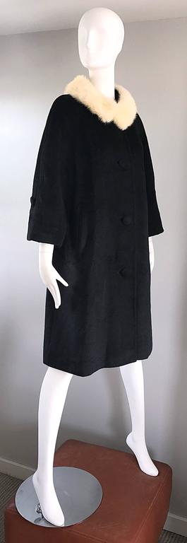 1960s Lilli Ann Black and White Wool + Mink Fur Vintage 60s Swing Jacket Coat  4