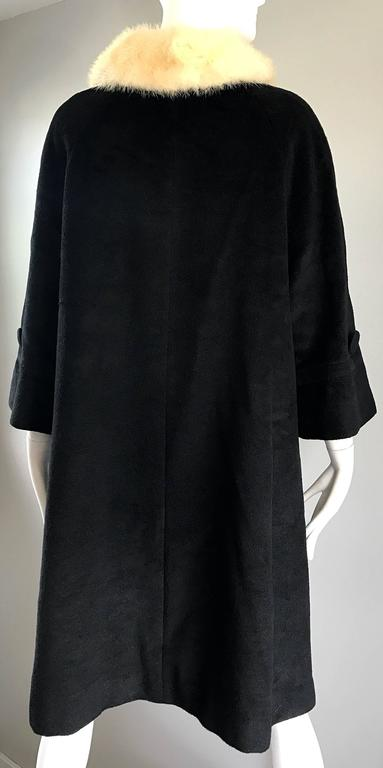 1960s Lilli Ann Black and White Wool + Mink Fur Vintage 60s Swing Jacket Coat  5
