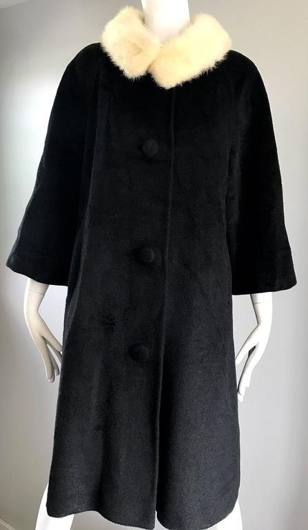 1960s Lilli Ann Black and White Wool + Mink Fur Vintage 60s Swing Jacket Coat  9