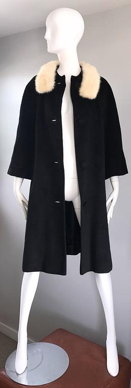 1960s Lilli Ann Black and White Wool + Mink Fur Vintage 60s Swing Jacket Coat  6