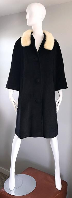 1960s Lilli Ann Black and White Wool + Mink Fur Vintage 60s Swing Jacket Coat  8