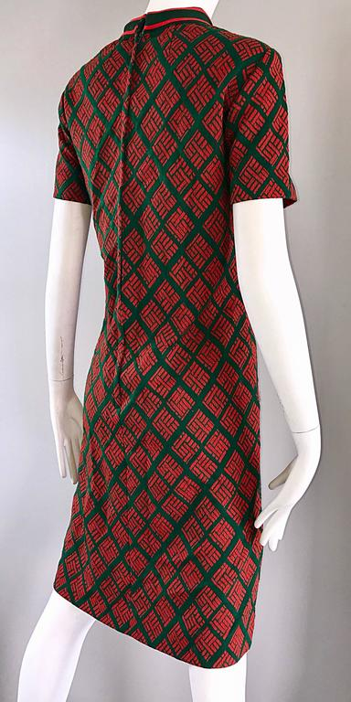 1960s Andrea Gayle Green Red Geometric Print Knit Vintage