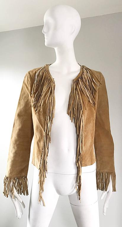 Amazing 1970s Tan Suede Leather Fringe Vintage 70s Light