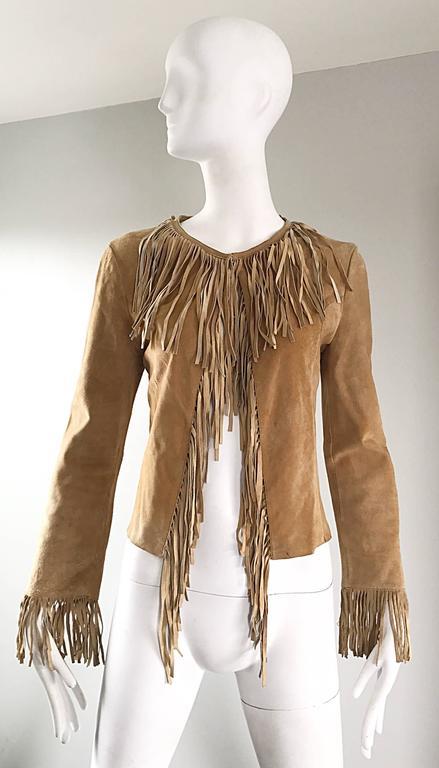 Amazing 1970s Tan Suede Leather Fringe Vintage 70s Light