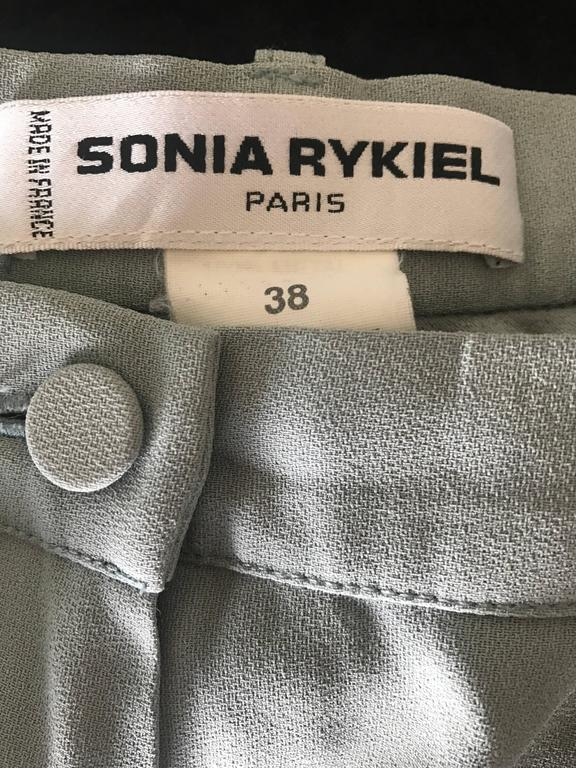 Vintage Sonia Rykiel 1990s Pale Blue Silver Beaded High Waisted Slim Pants Sz 38 For Sale 3