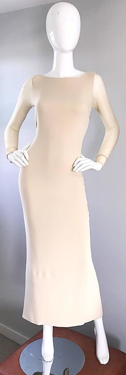 Vera Wang 1990s Nude Silk Semi Sheer Sleeves Cut - Out Back Vintage 90s Gown 2