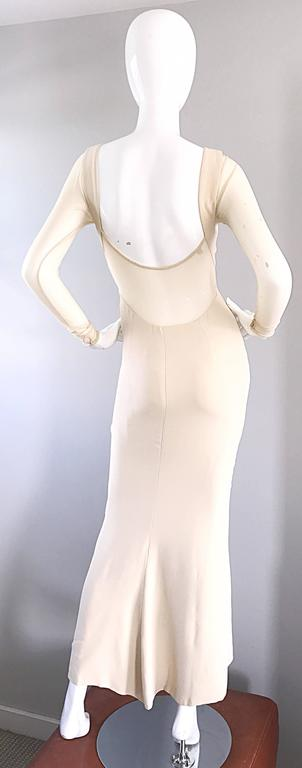 Vera Wang 1990s Nude Silk Semi Sheer Sleeves Cut - Out Back Vintage 90s Gown 3