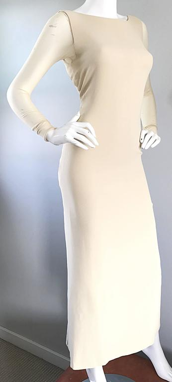 Vera Wang 1990s Nude Silk Semi Sheer Sleeves Cut - Out Back Vintage 90s Gown 4