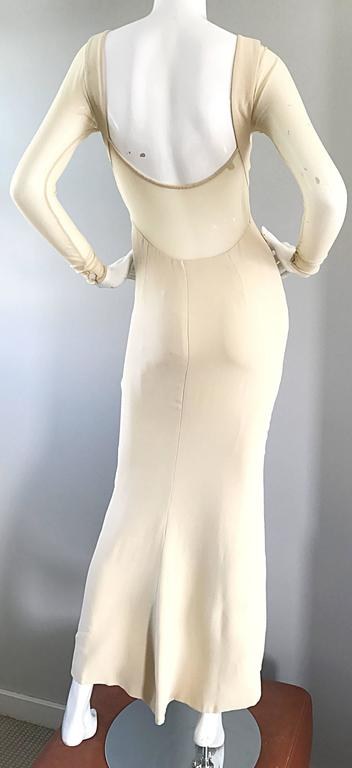 Vera Wang 1990s Nude Silk Semi Sheer Sleeves Cut - Out Back Vintage 90s Gown 5
