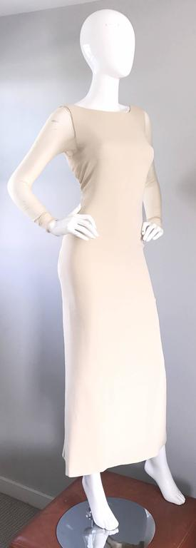 Vera Wang 1990s Nude Silk Semi Sheer Sleeves Cut - Out Back Vintage 90s Gown 6