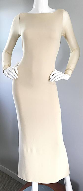 Vera Wang 1990s Nude Silk Semi Sheer Sleeves Cut - Out Back Vintage 90s Gown 7