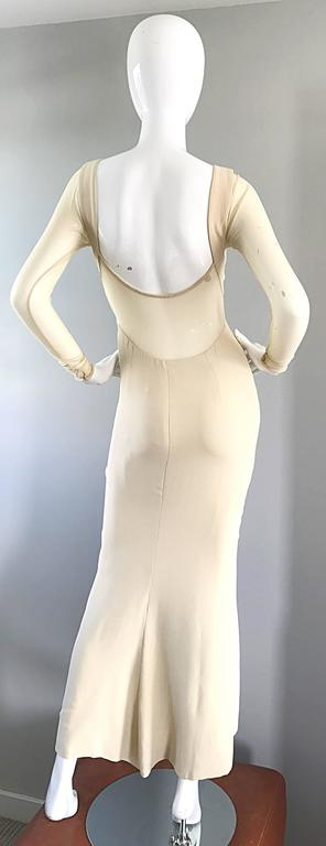 Vera Wang 1990s Nude Silk Semi Sheer Sleeves Cut - Out Back Vintage 90s Gown 8