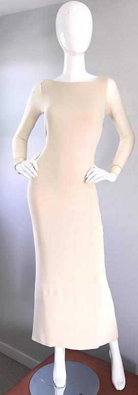 Vera Wang 1990s Nude Silk Semi Sheer Sleeves Cut - Out Back Vintage 90s Gown 9