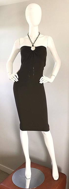 NWT Michael Kors Collection Size 12 Brown Silk Jersey Gold Chain Halter Dress 2