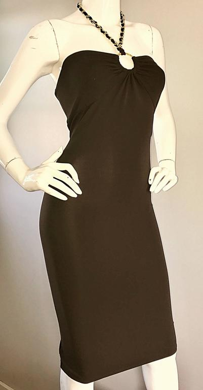 NWT Michael Kors Collection Size 12 Brown Silk Jersey Gold Chain Halter Dress 4