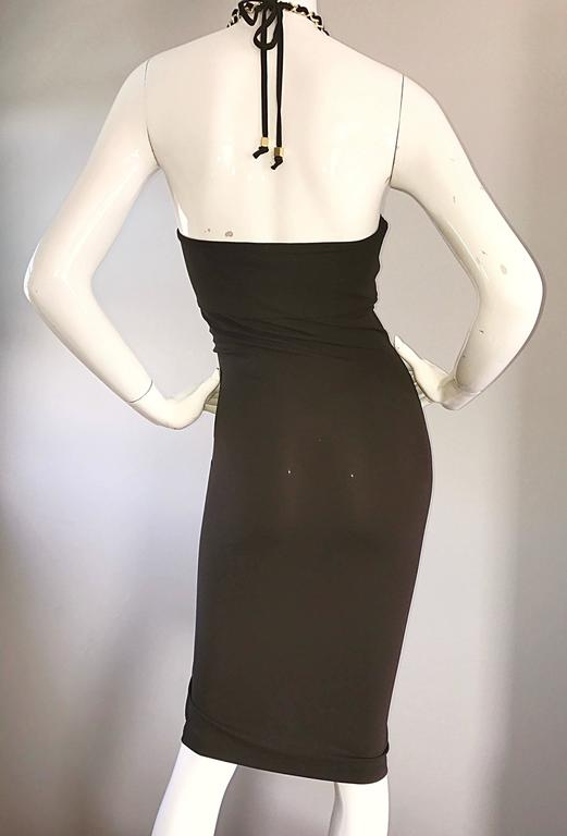 NWT Michael Kors Collection Size 12 Brown Silk Jersey Gold Chain Halter Dress 5