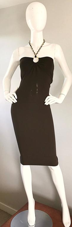 NWT Michael Kors Collection Size 12 Brown Silk Jersey Gold Chain Halter Dress 9