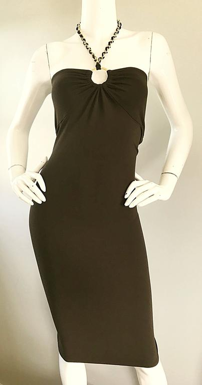 NWT Michael Kors Collection Size 12 Brown Silk Jersey Gold Chain Halter Dress 6