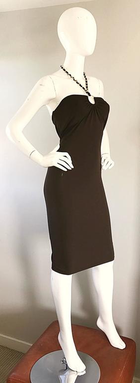 NWT Michael Kors Collection Size 12 Brown Silk Jersey Gold Chain Halter Dress 7