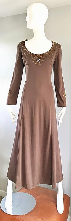 1970s Grecian Light Coffee Brown Beaded Rhinestone Vintage 70s Maxi Dress  For Sale 3