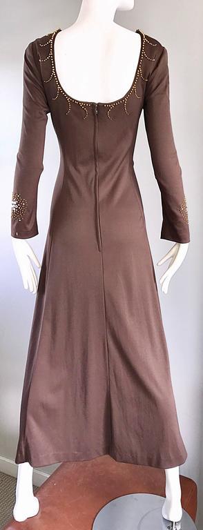 1970s Grecian Light Coffee Brown Beaded Rhinestone Vintage 70s Maxi Dress  For Sale 4