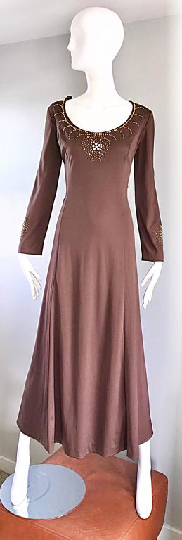 1970s Grecian Light Coffee Brown Beaded Rhinestone Vintage 70s Maxi Dress  For Sale 6
