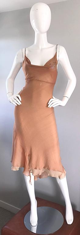 Orange 1990s Lolita Lempicka Silk Chiffon Terracotta Tan Rhinestone Vintage 90s Dress For Sale