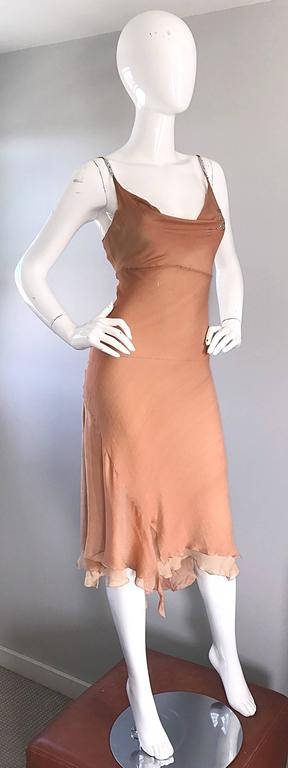 Women's 1990s Lolita Lempicka Silk Chiffon Terracotta Tan Rhinestone Vintage 90s Dress For Sale