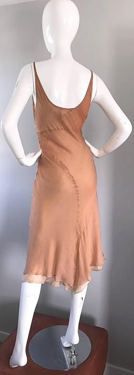 1990s Lolita Lempicka Silk Chiffon Terracotta Tan Rhinestone Vintage 90s Dress For Sale 1